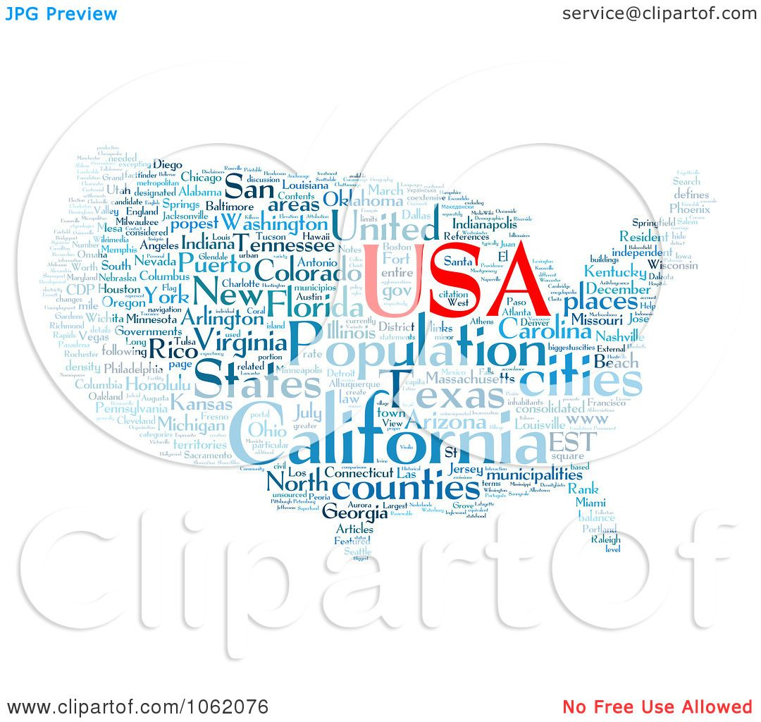 Clipart United States Map Word Collage Royalty Free - Us map collage