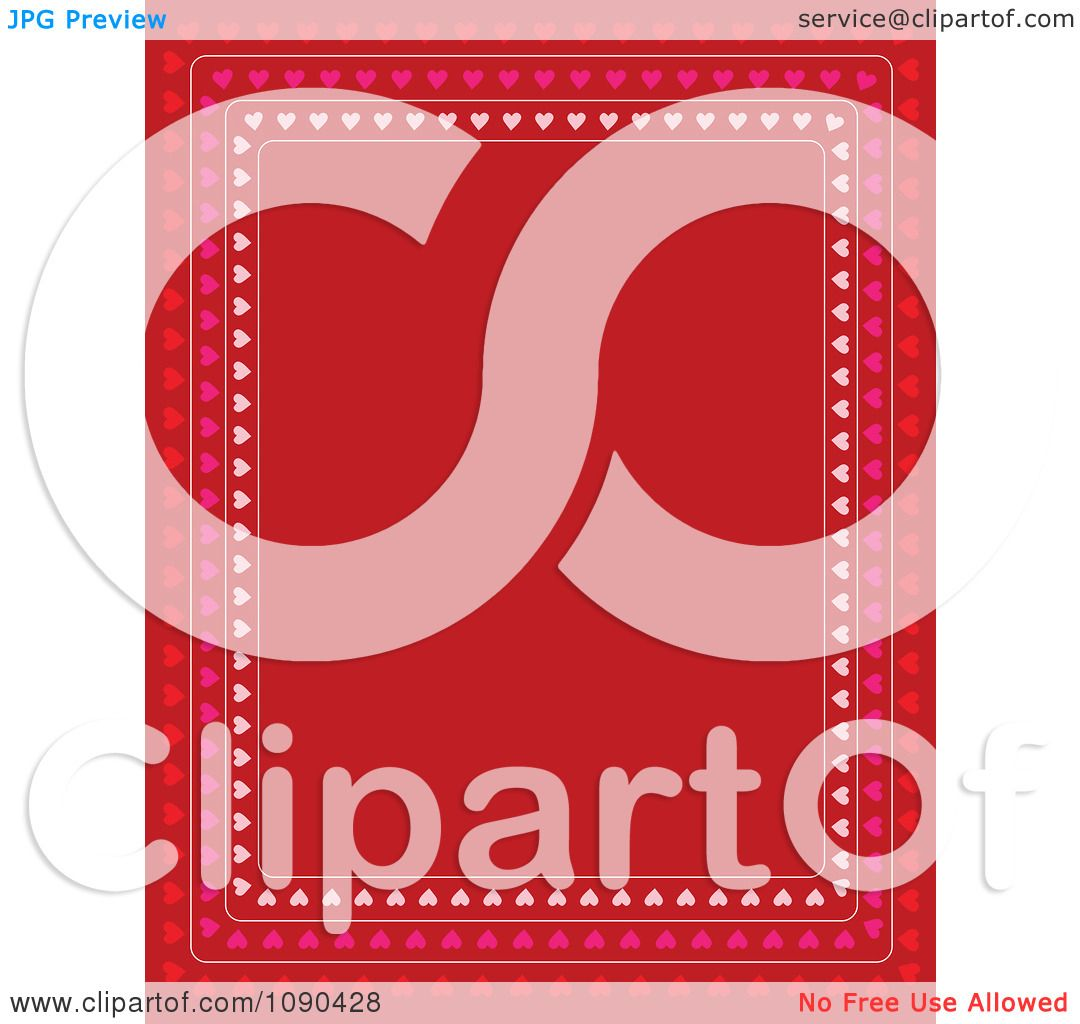 clipart valentine border of pink and red hearts around copyspace
