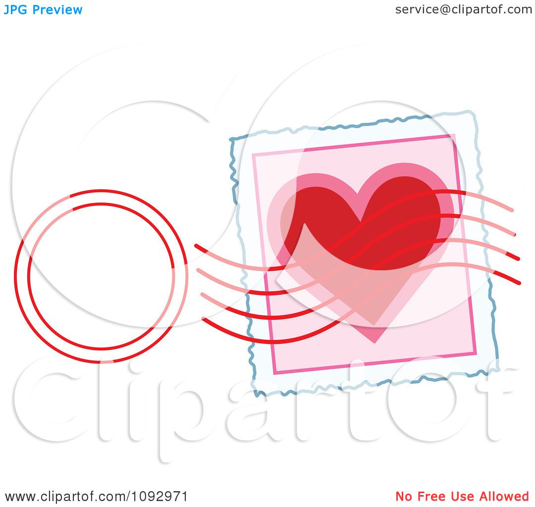 clipart valentine heart stamp and post mark royalty free vector