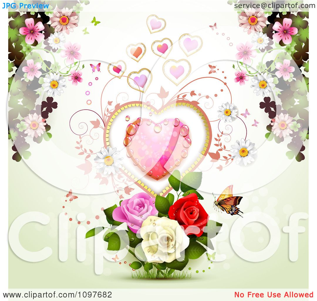 clipart valentines day or wedding background with a dewy heart