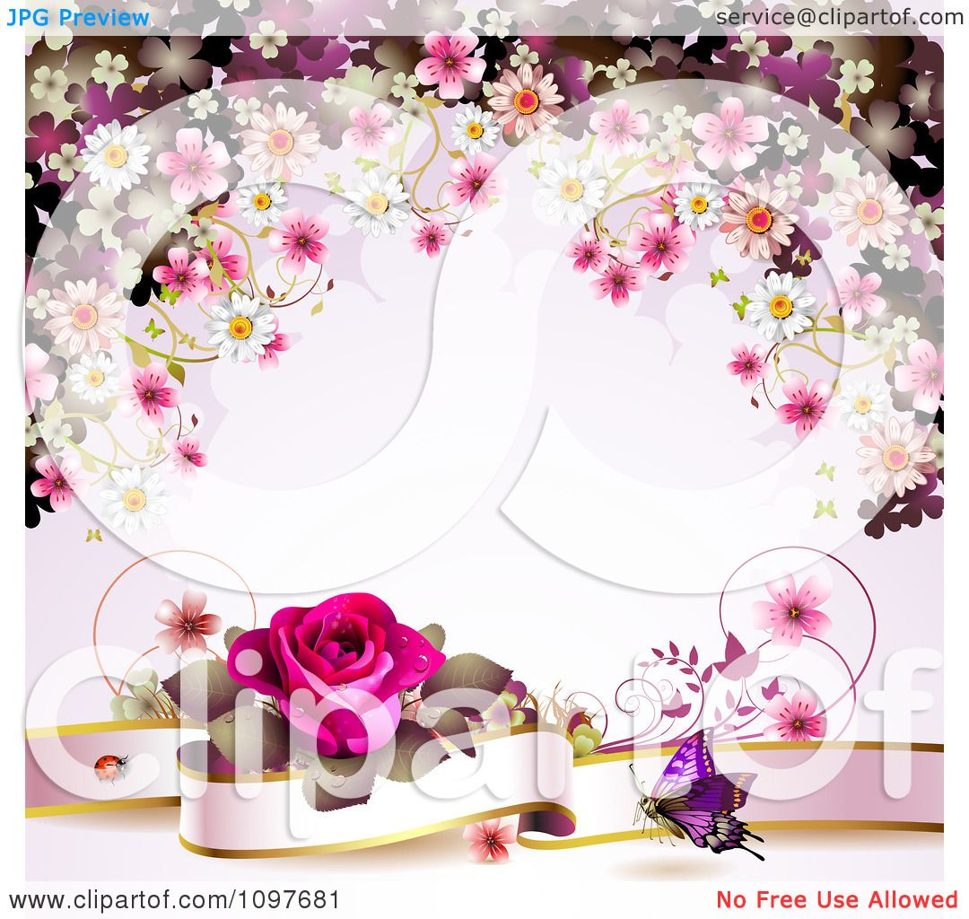 Clipart Valentines Day Or Wedding Background With A Pink