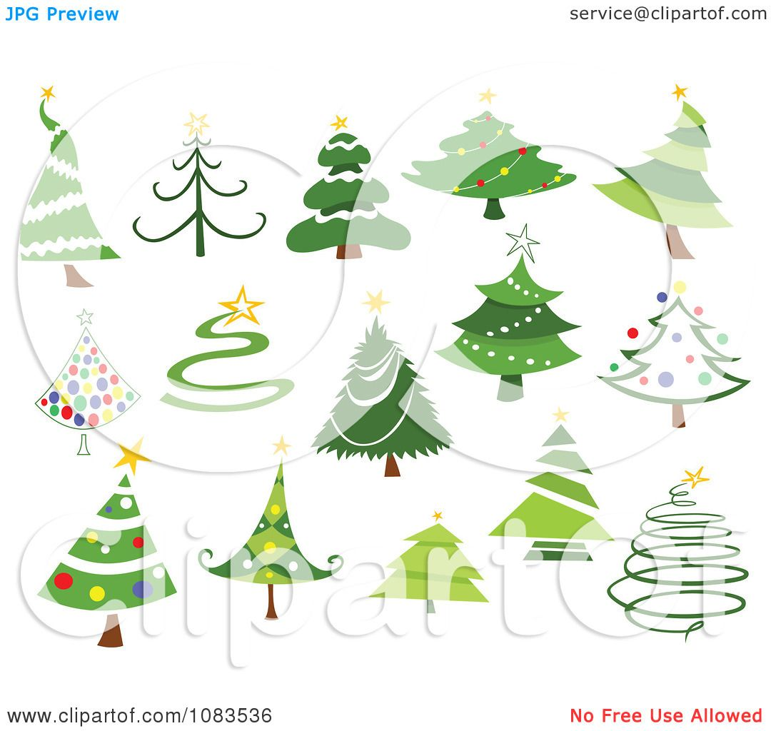 Astounding Clipart Variety Of Christmas Tree Designs Royalty Free Vector Easy Diy Christmas Decorations Tissureus