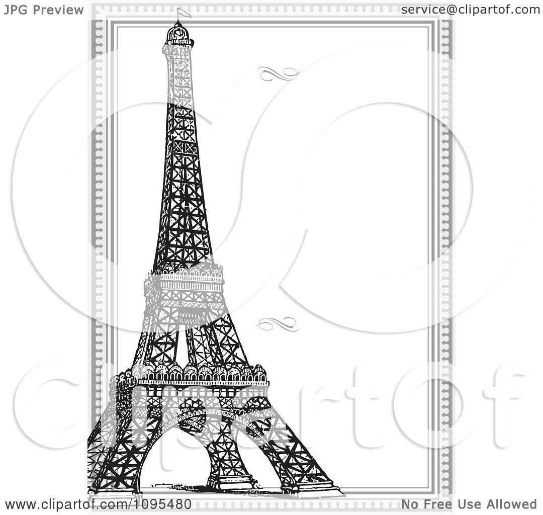 clipart vertical black and white eiffel tower and frame with swirls royalty free vector illustration by bestvector
