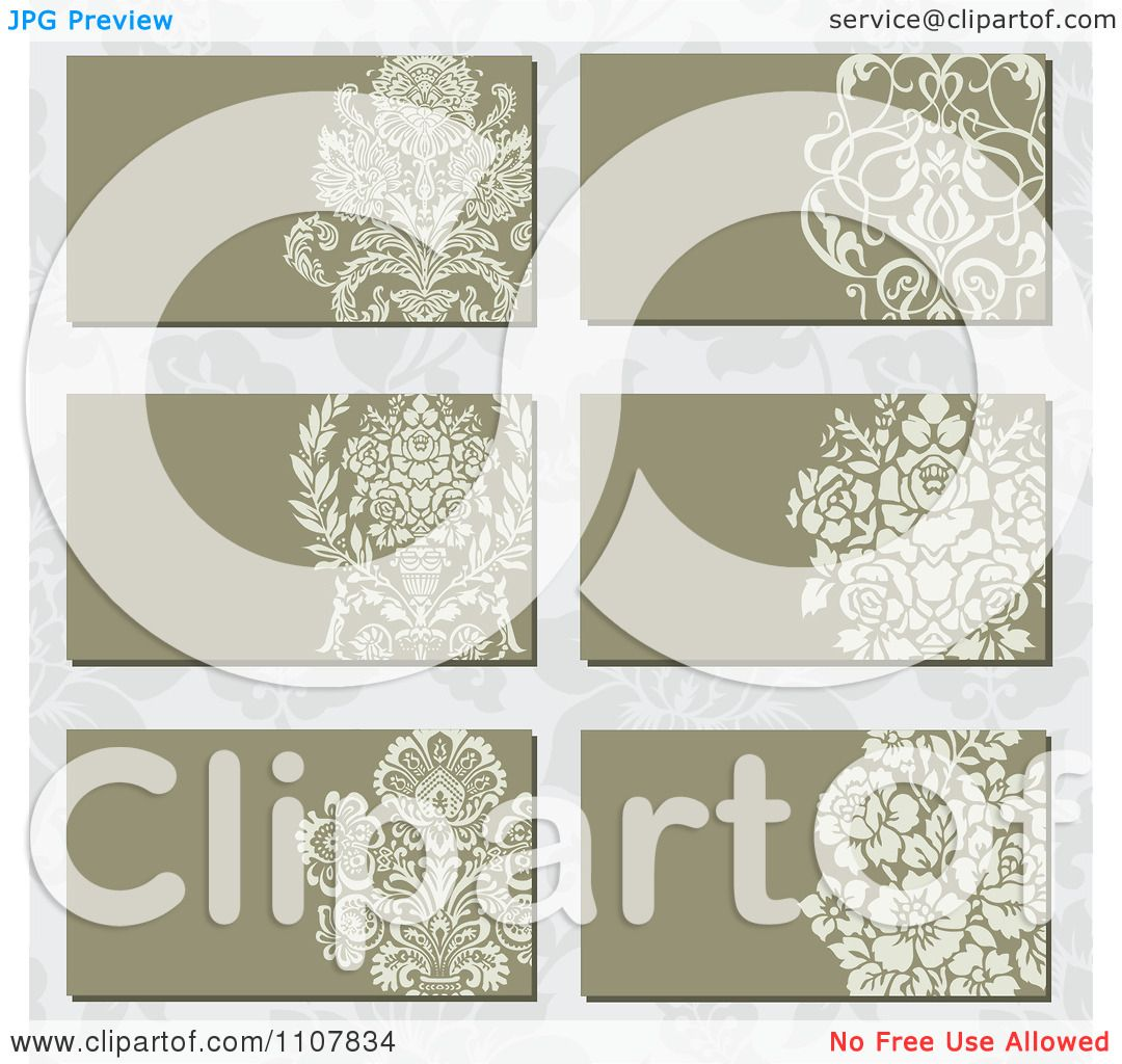 Clipart Victorian Floral Business Card Designs Over A Pattern ...
