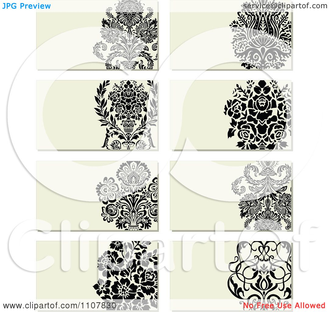 Clipart Victorian Floral Business Card Designs - Royalty Free Vector ...