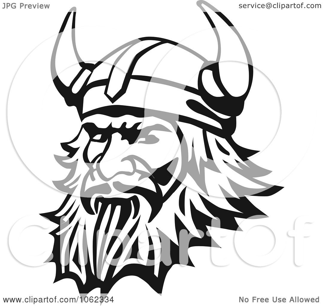 clipart viking man in black and white