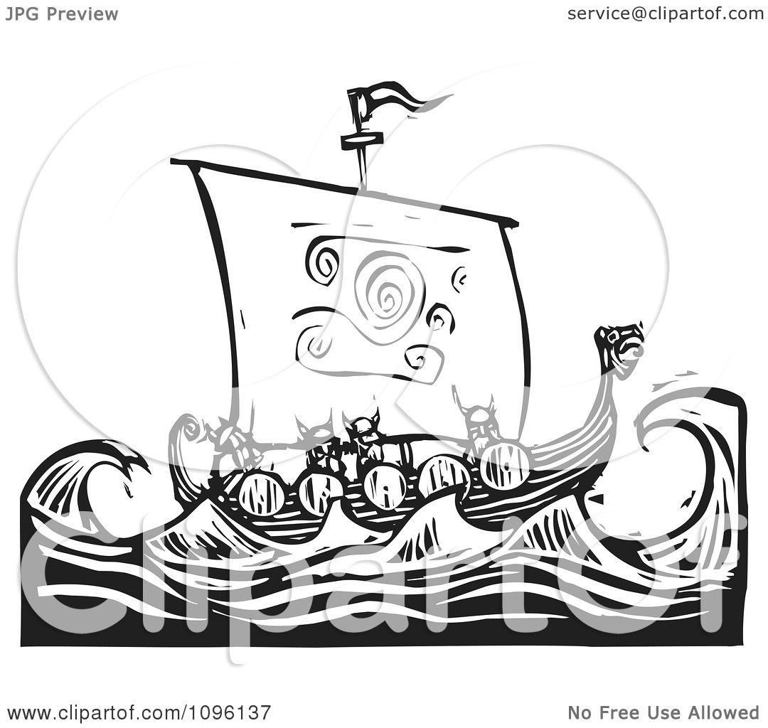 clipart viking warriors and a dragon ship at sea black and white