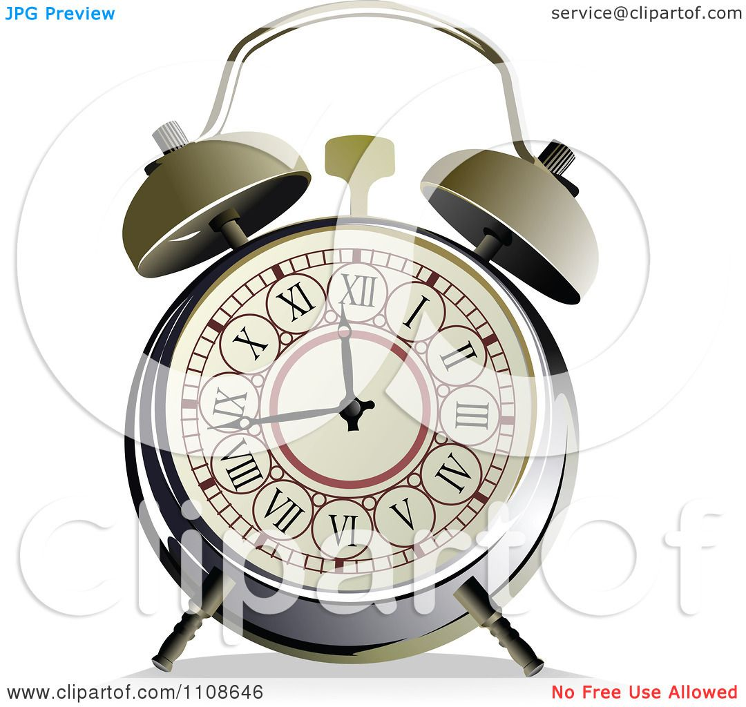 clipart vintage alarm clock with roman numerals royalty free vector by leonid