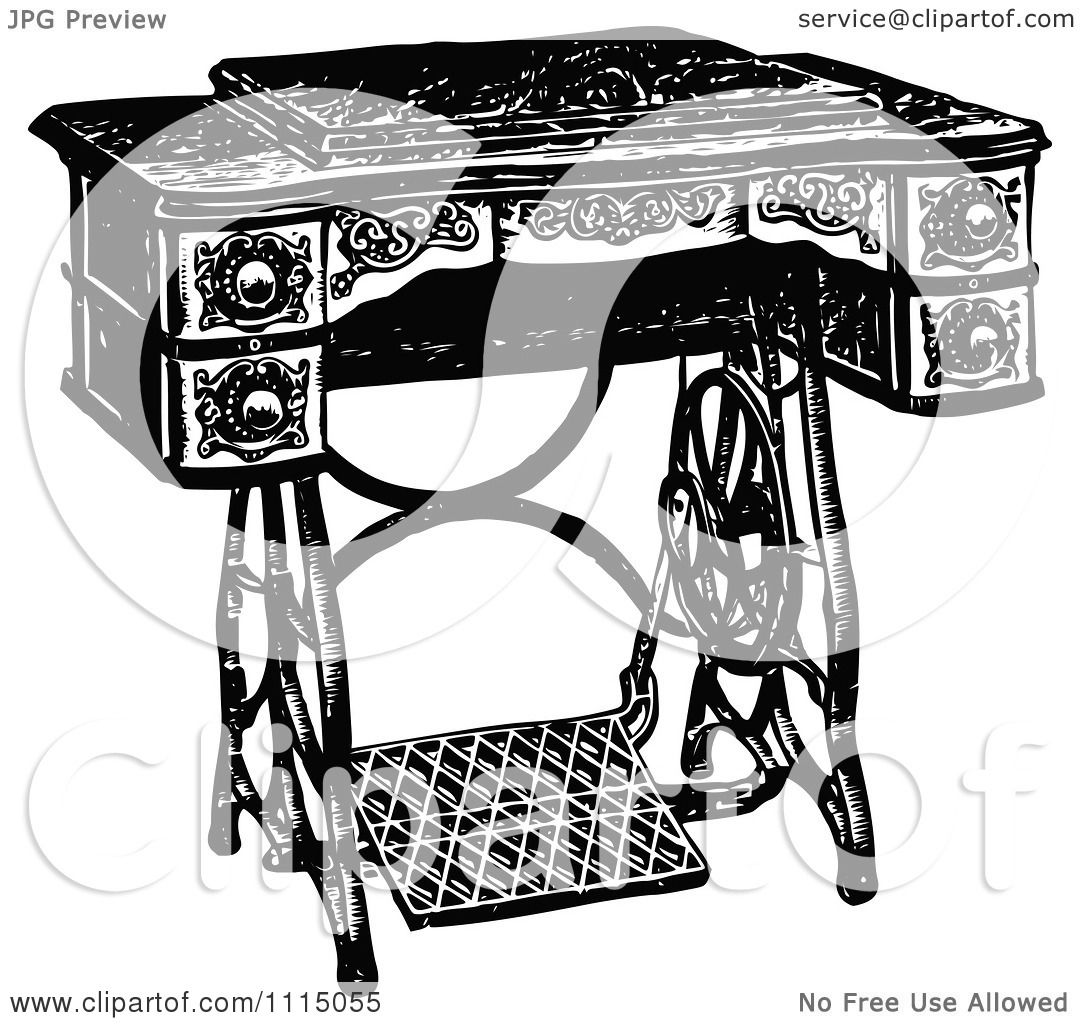 Clipart Vintage Black And White Antique Foot Crank Sewing ...