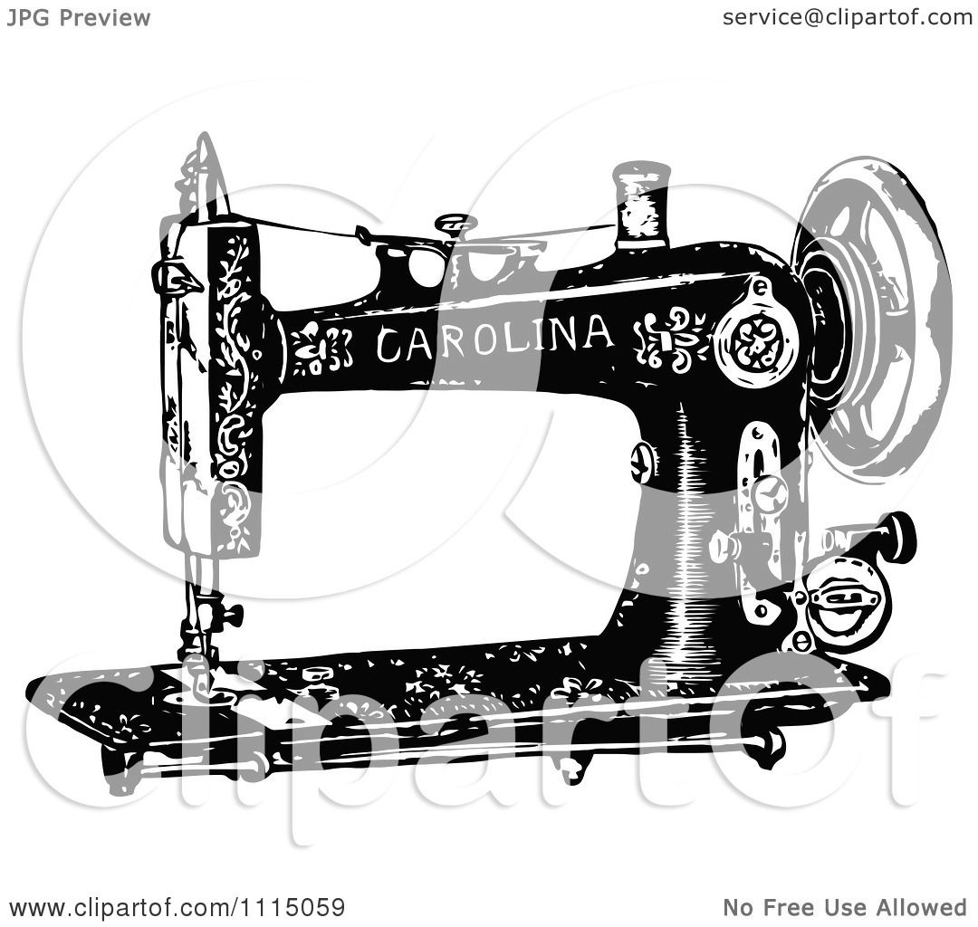 Clipart Vintage Black And White Antique Sewing Machine 2
