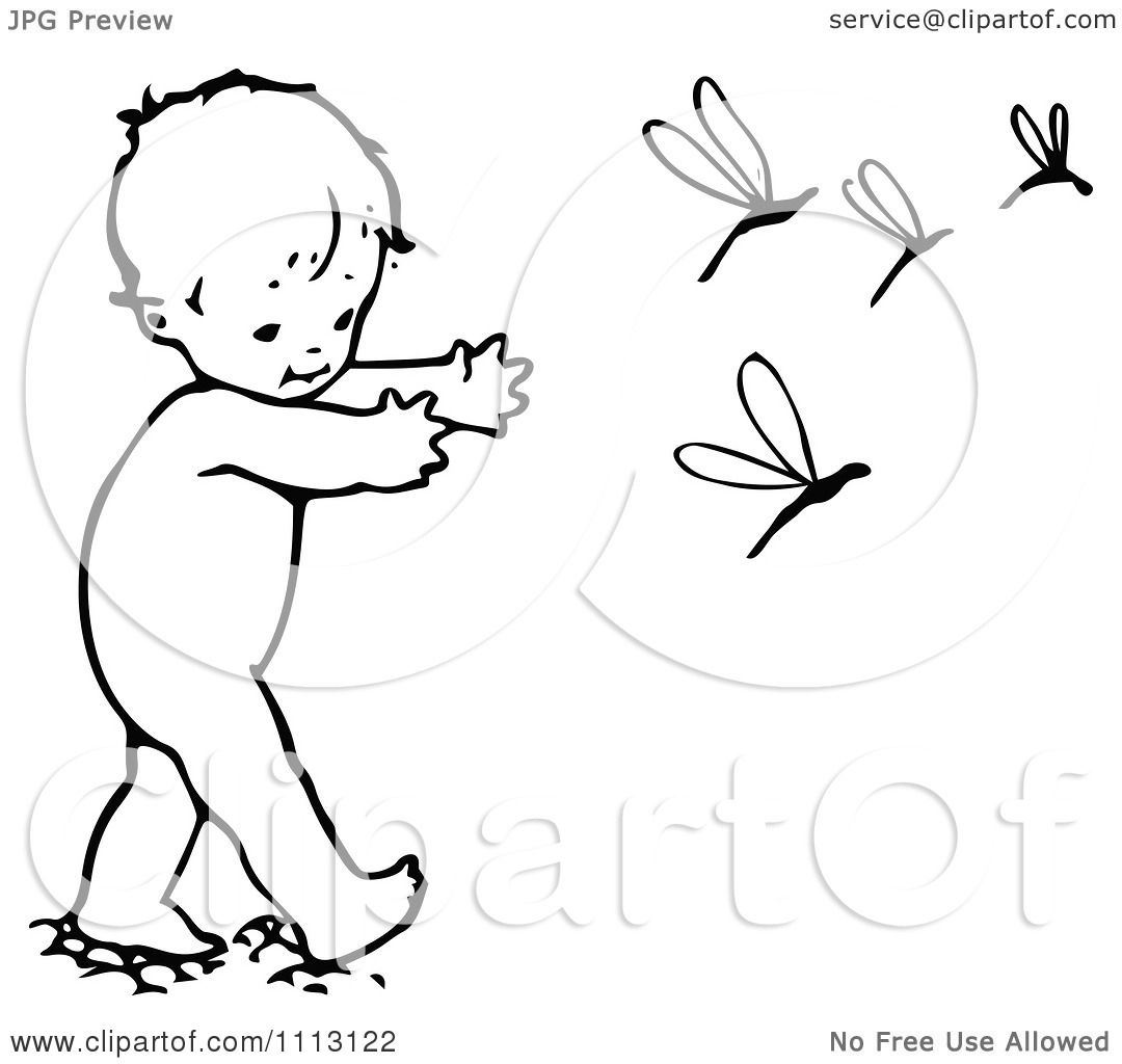 Clipart Vintage Black And White Baby Chasing Dragonflies - Royalty ...