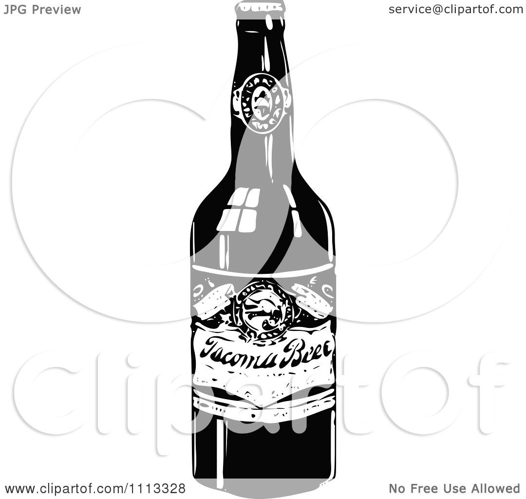 Clipart Vintage Black And White Beer Bottle - Royalty Free ...