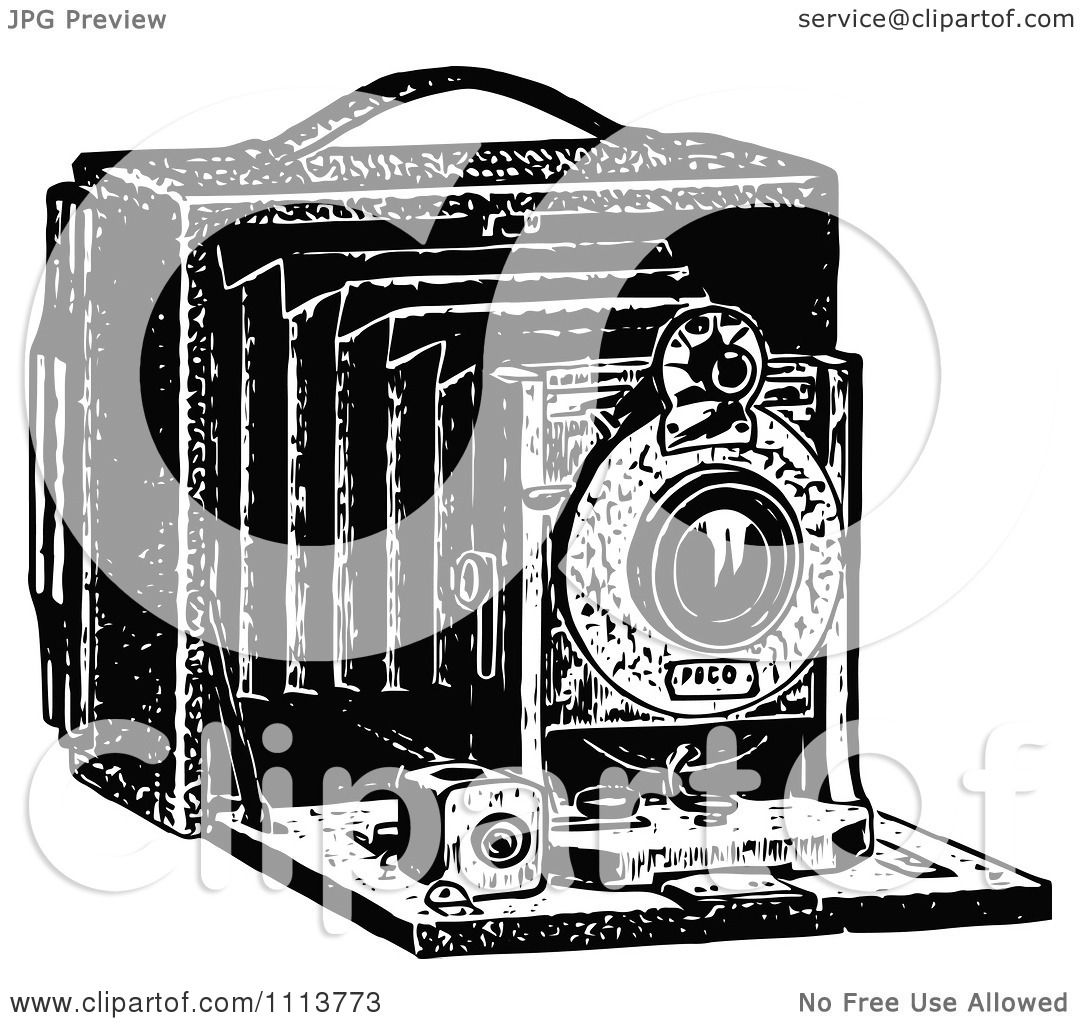 Clipart Vintage Black And White Camera With Bellows ...