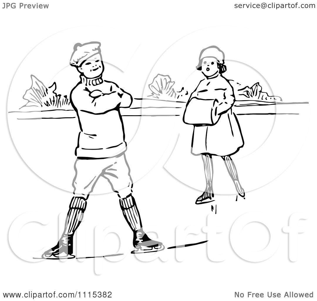 Clipart Vintage Black And White Children Ice Skating ...
