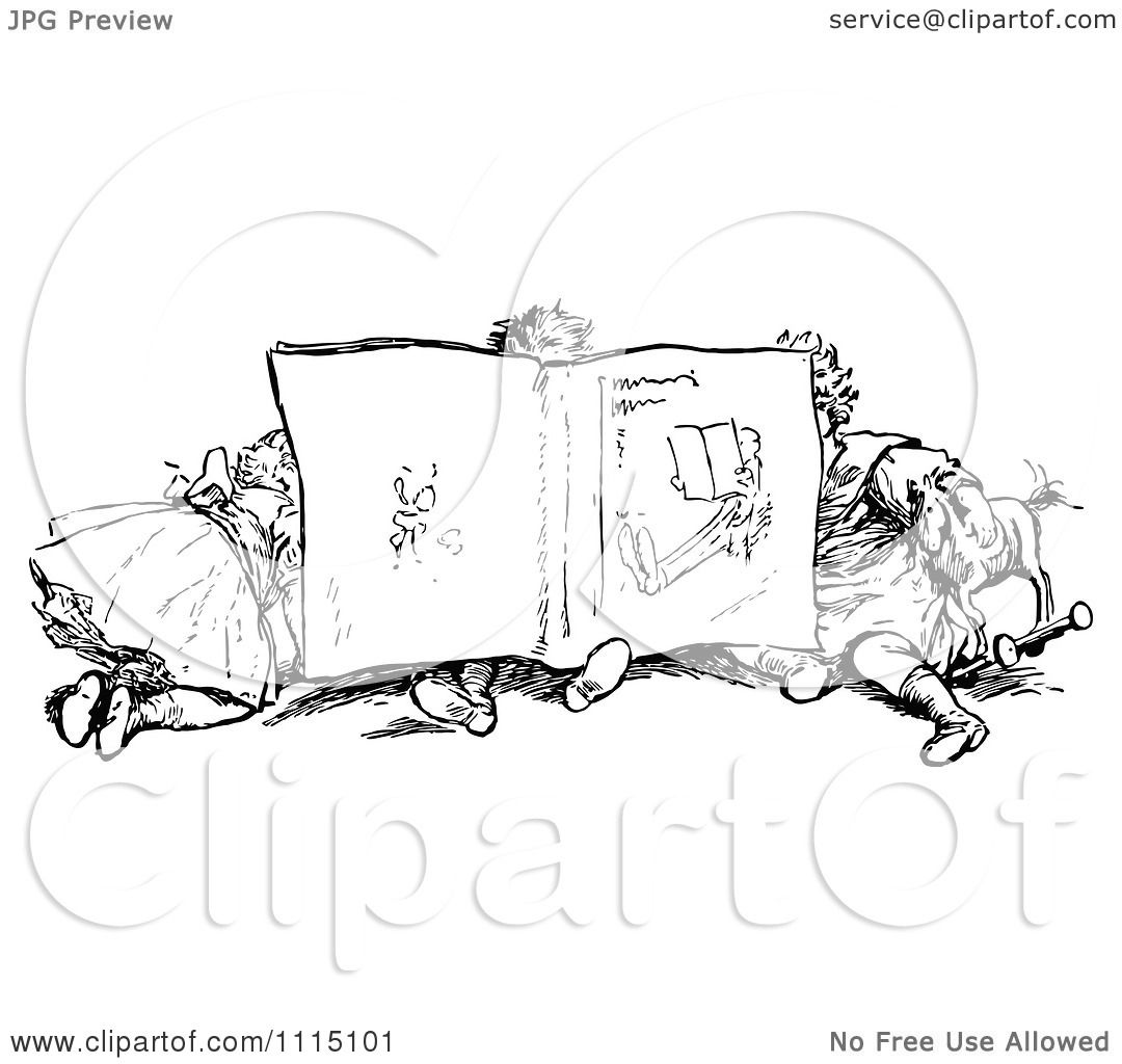 clipart vintage black and white children reading a book