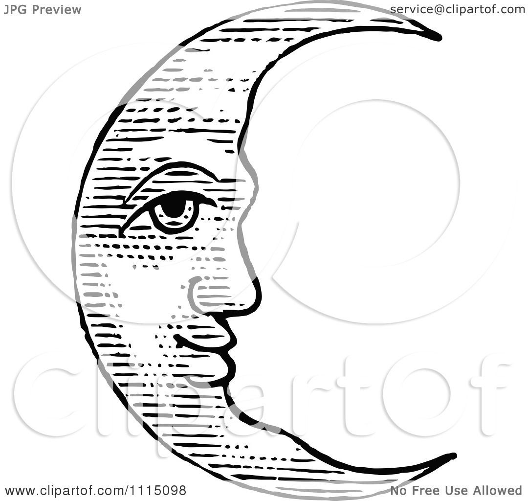 Clipart Vintage Black And White Crescent Moon Face