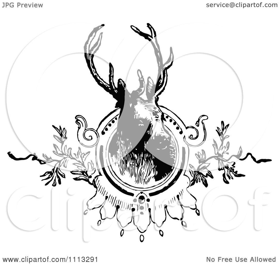 Deer illustration black and white - photo#39