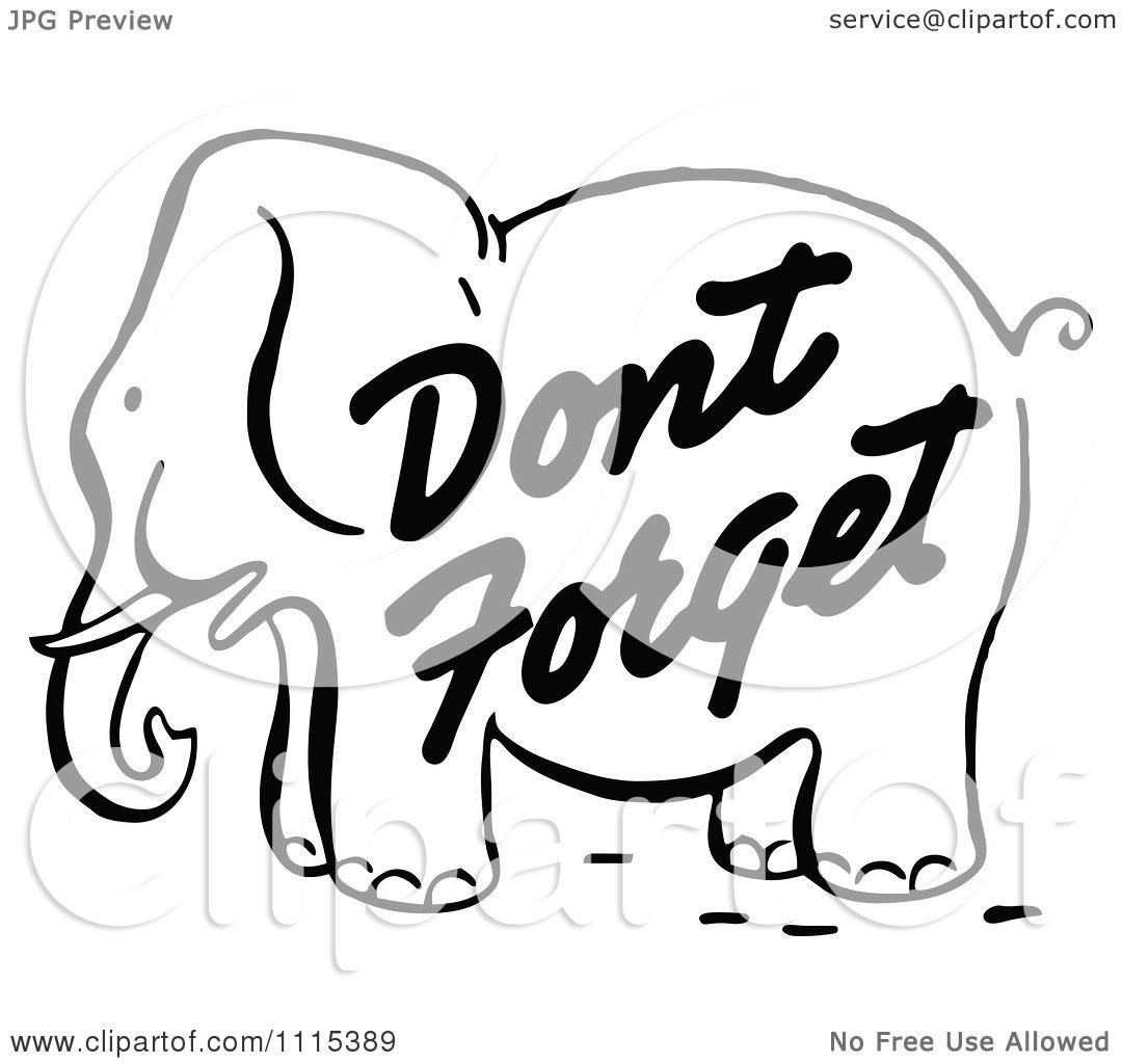 Clipart Vintage Black And White Dont Forget Reminder ...