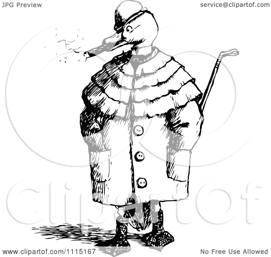 clipart vintage black and white duck smoking a cigar