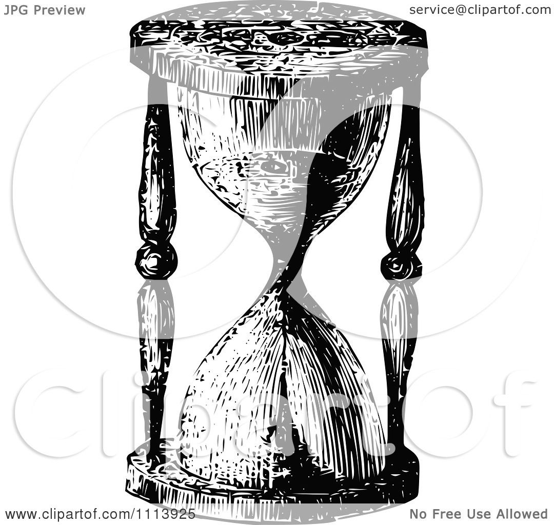 Clipart Vintage Black And White Egg Timer Hourglass ...
