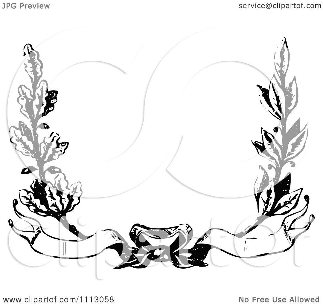 Clipart Vintage Black And White Floral Wreath With Banners ...