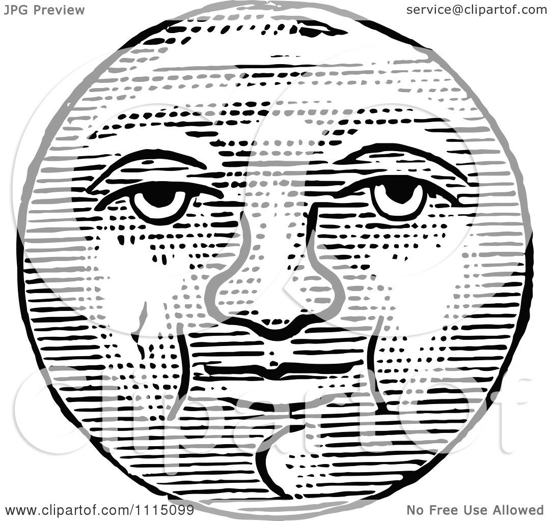 Clipart Vintage Black And White Full Moon Face , Royalty