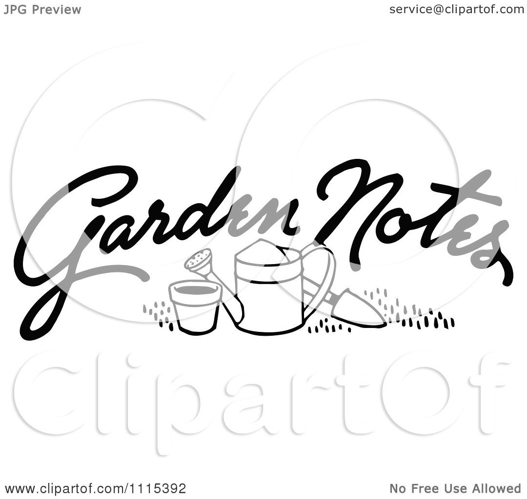 Clipart Vintage Black And White Garden Notes Text And ...