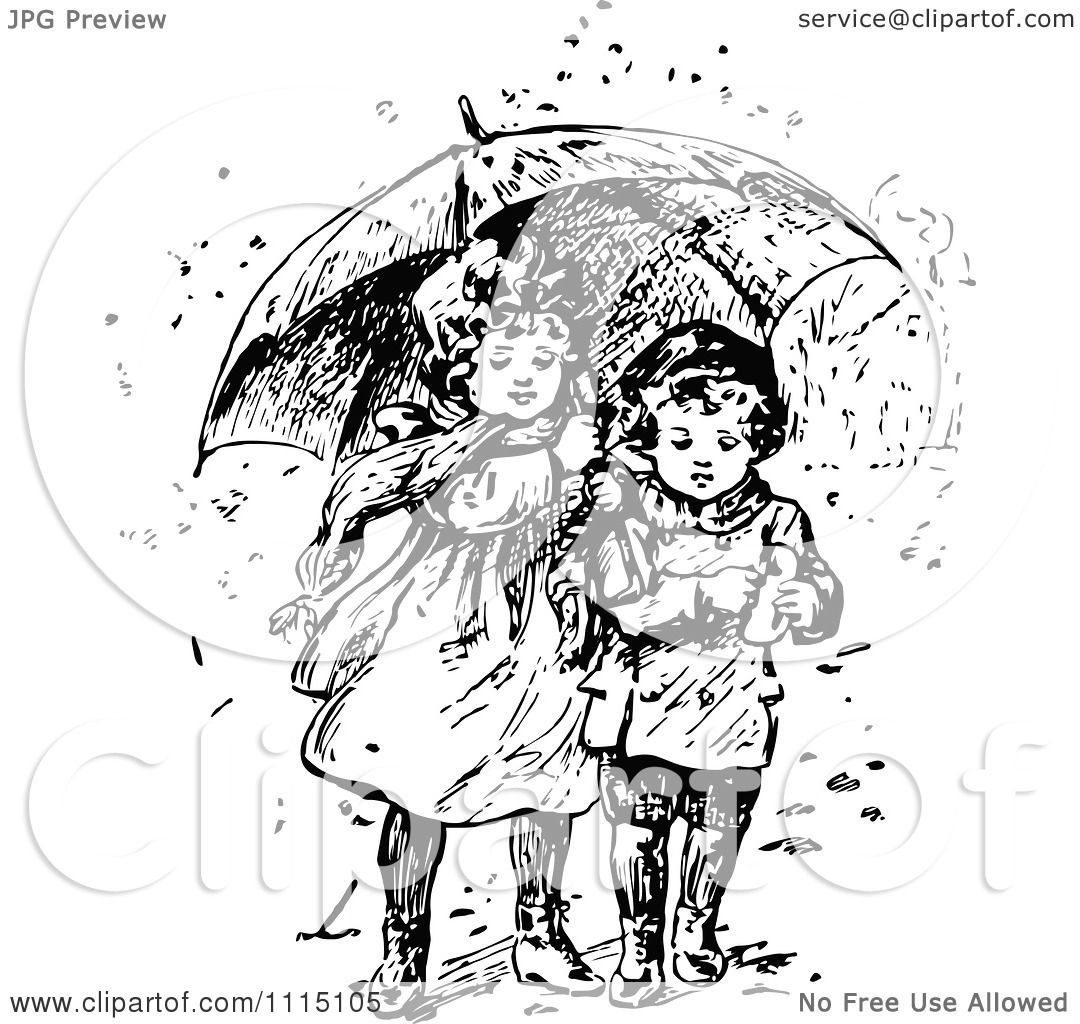 Clipart Vintage Black And White Girl And Boy Sharing An -4048