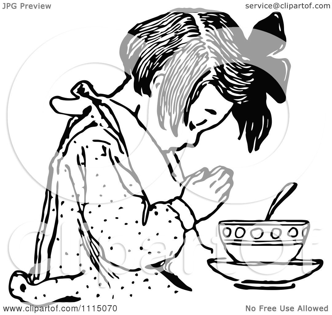 Clipart Vintage Black And White Girl Praying Before Eating
