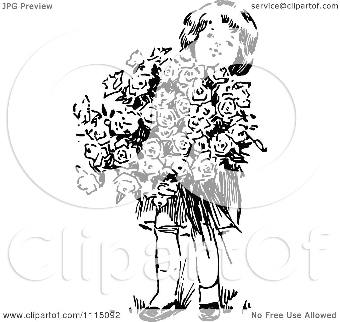 Clipart Vintage Black And White Girl With A Huge Bouquet ...