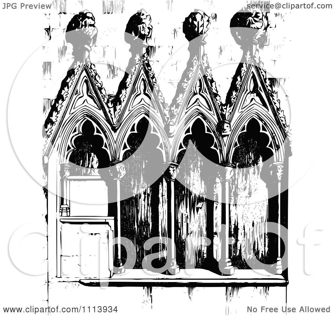 Clipart Vintage Black And White Gothic Architecture