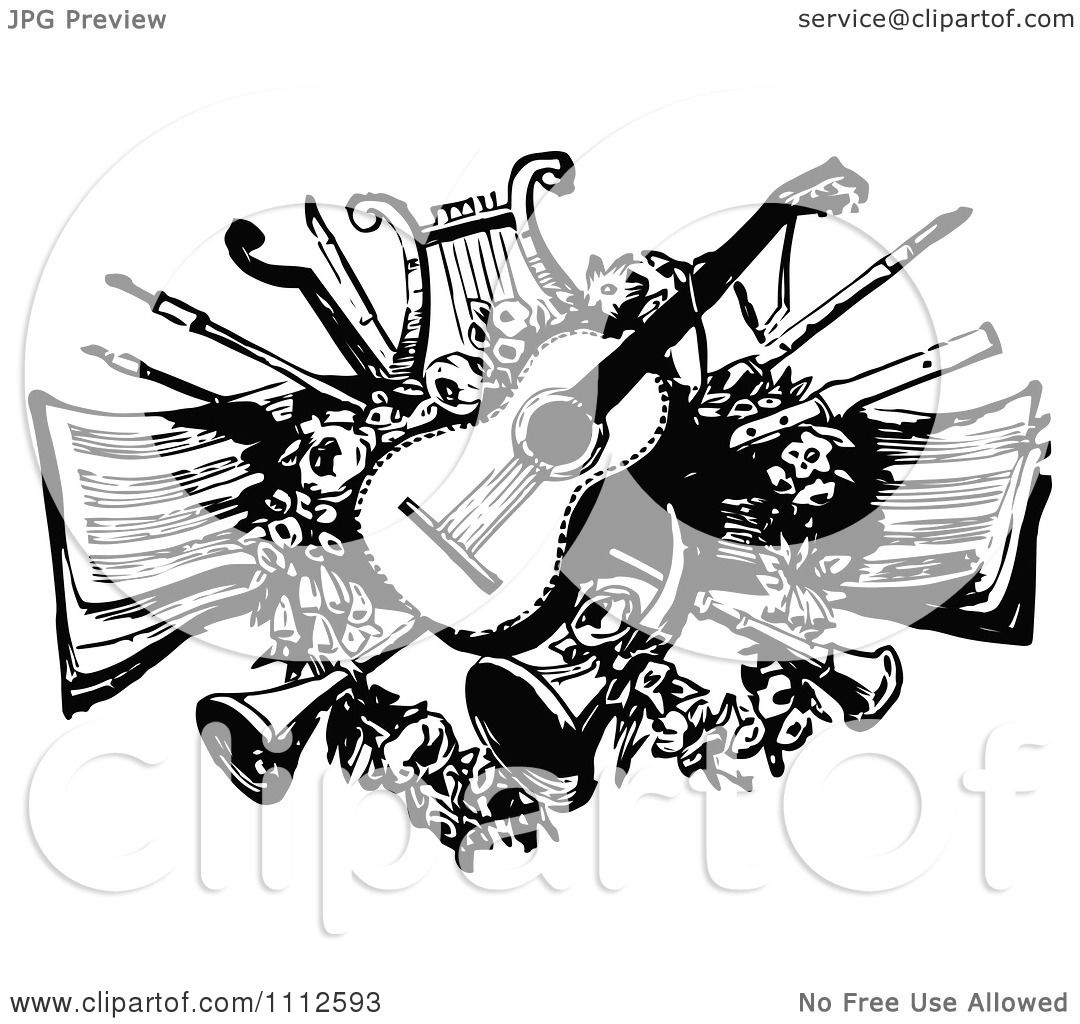 music instruments clipart black and white - photo #27