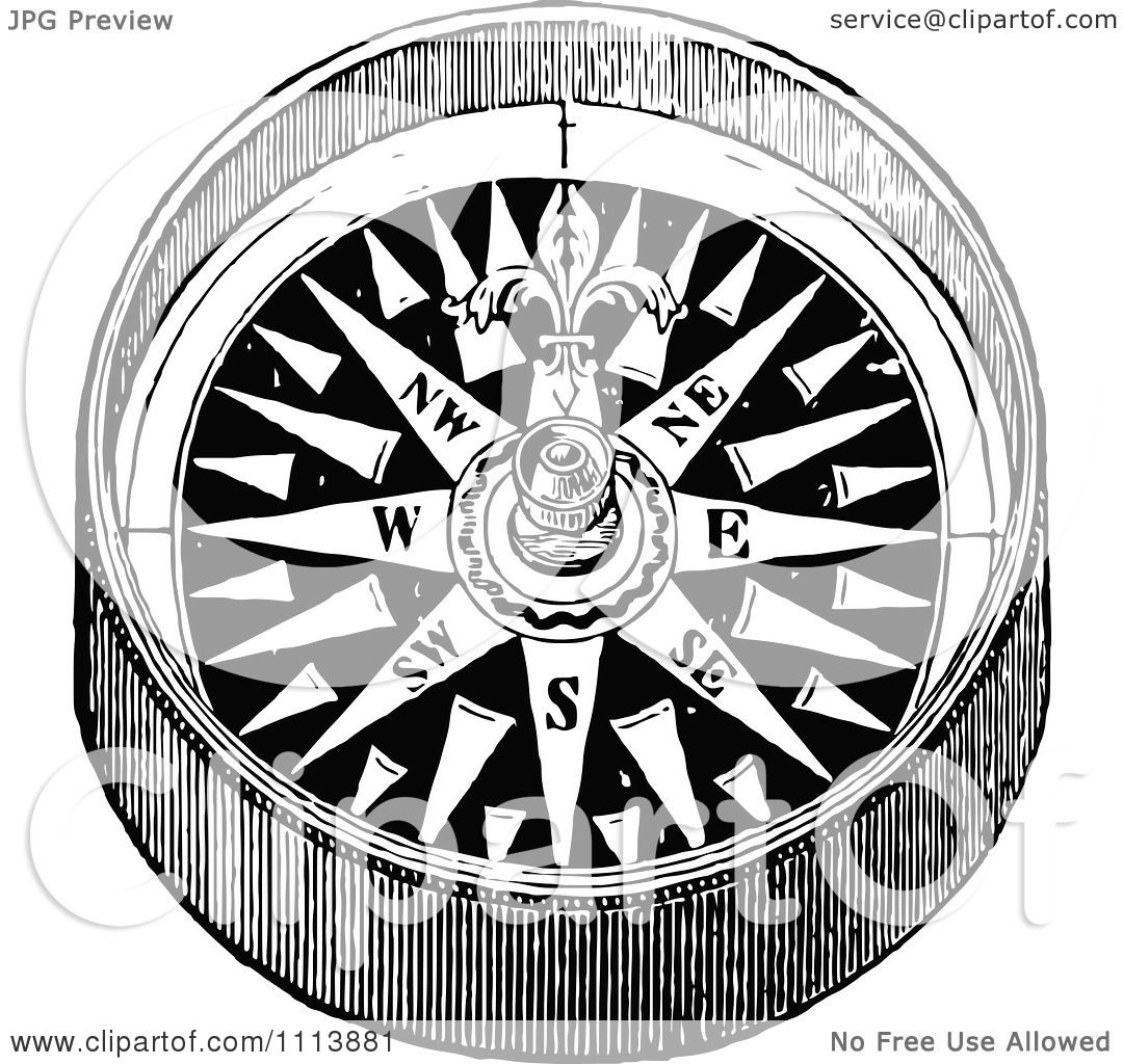 Clipart Vintage Black And White Hand Compass 1