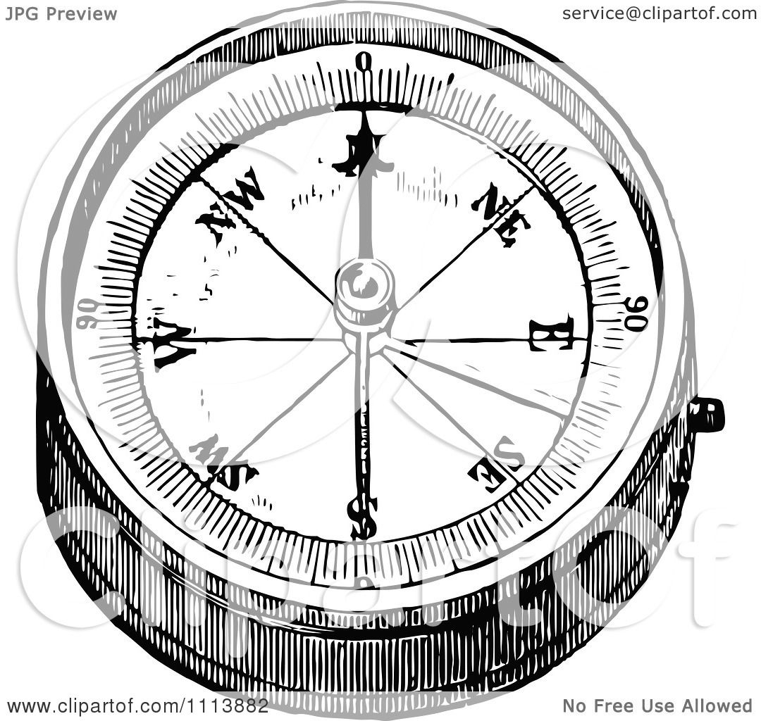clipart vintage black and white hand compass 2