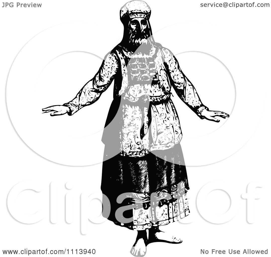 Clipart Vintage Black And White Jewish High Priest