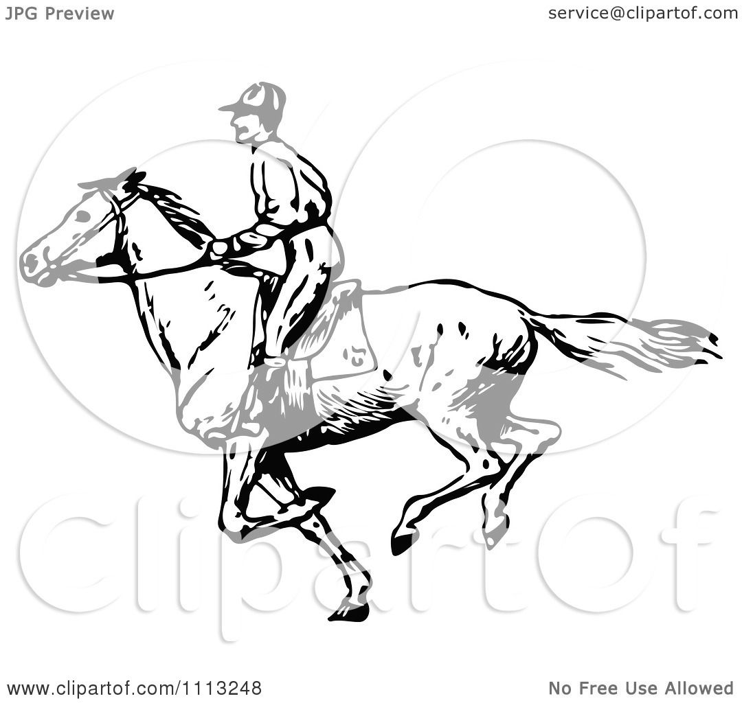 Clipart Vintage Black And White Jockey On A Galloping Horse 3