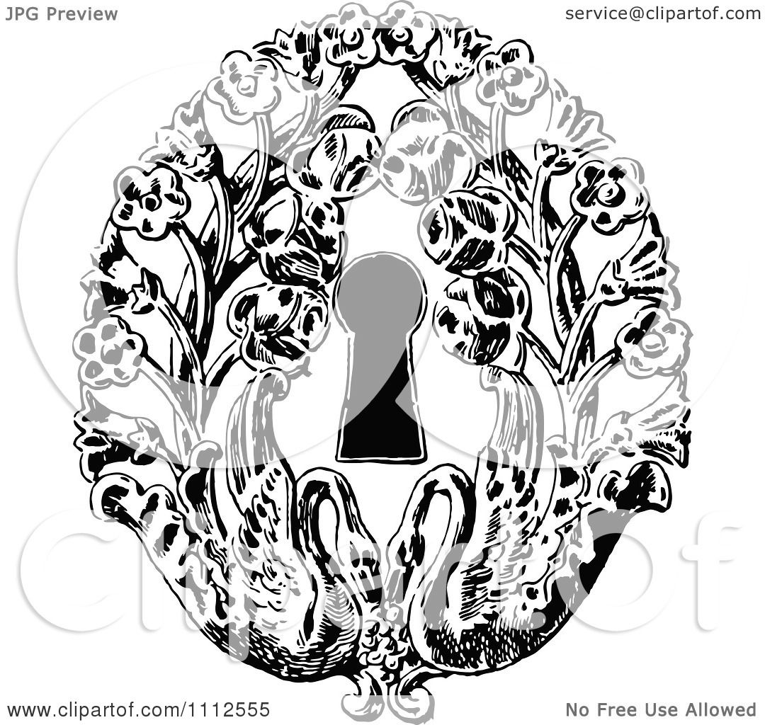 Clipart Vintage Black And White Keyhole With Flowers And Swans ...