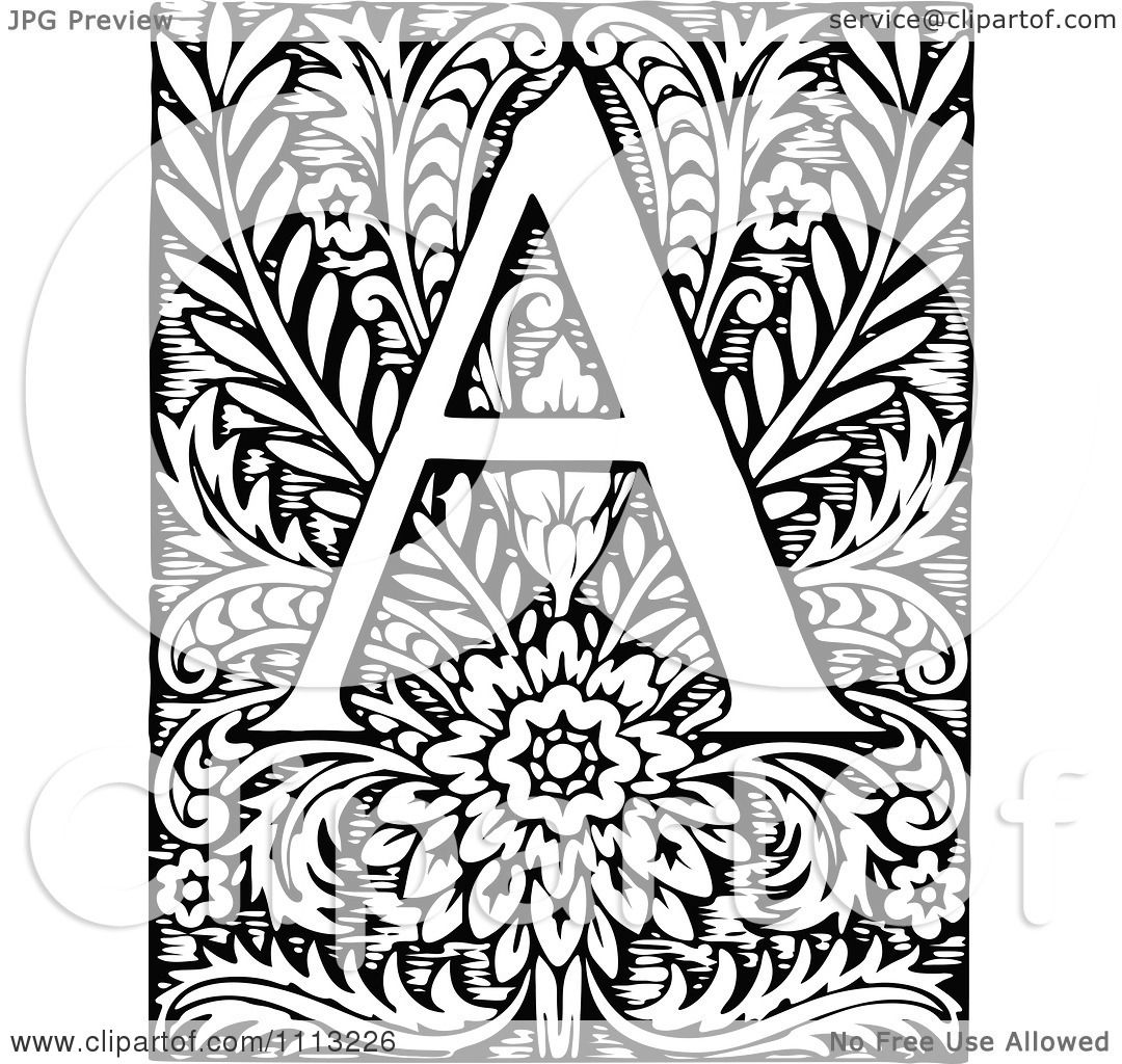 clipart vintage black and white letter a royalty free vector illustration by prawny vintage