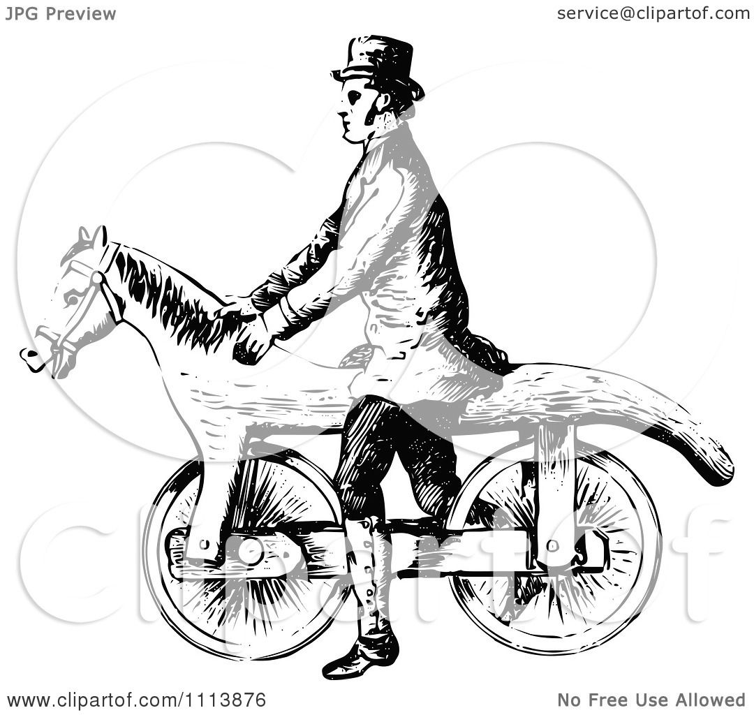 Clipart Vintage Black And White Man On A Horse Bicycle ...