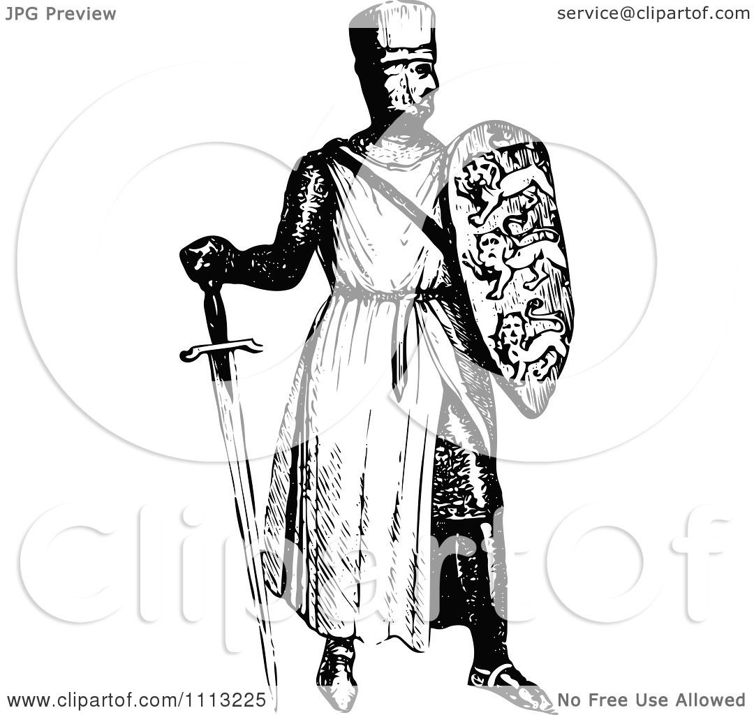Clipart Vintage Black And White Medieval Knight On With A ...