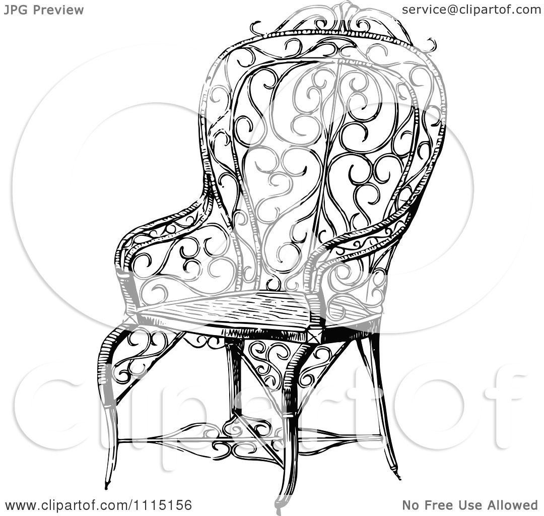 Black and white chair drawing - Clipart Vintage Black And White Ornate Chair 5 Royalty Free Vector Illustration By Prawny Vintage