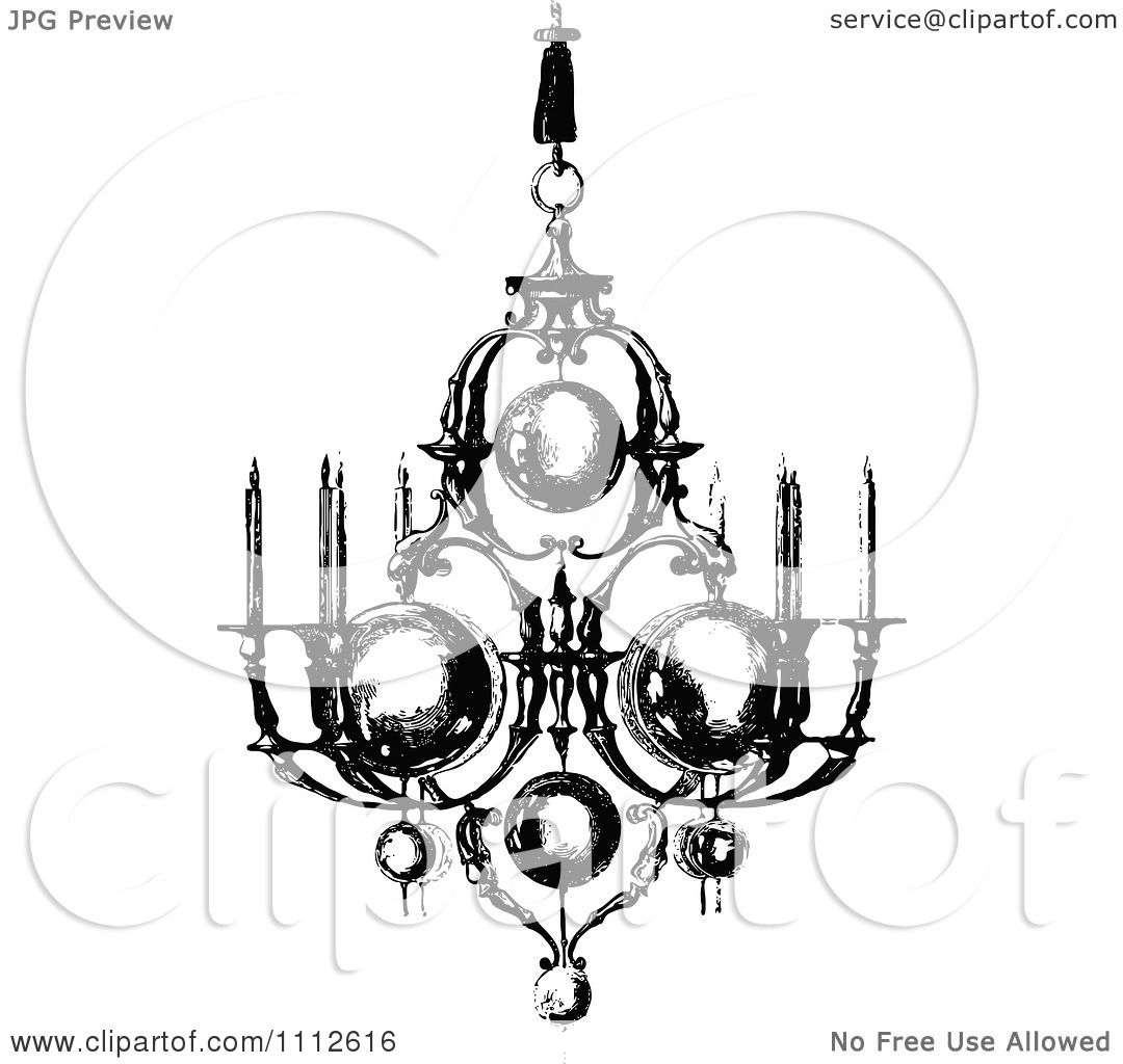 Clipart vintage black and white ornate chandelier with candles clipart vintage black and white ornate chandelier with candles royalty free vector illustration by prawny vintage aloadofball Image collections