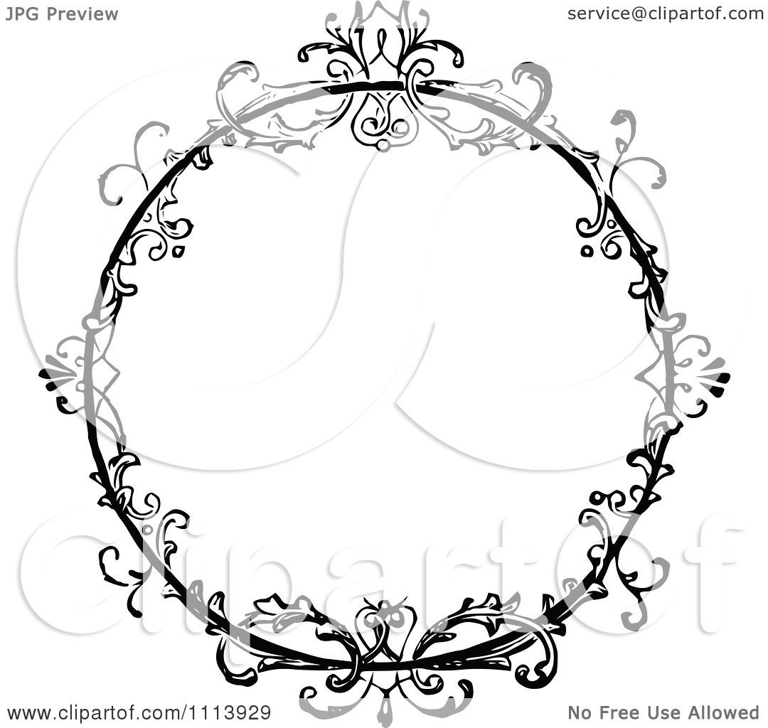 vintage black frame. Clipart Vintage Black And White Ornate Floral Round Frame - Royalty Free Vector Illustration By Prawny
