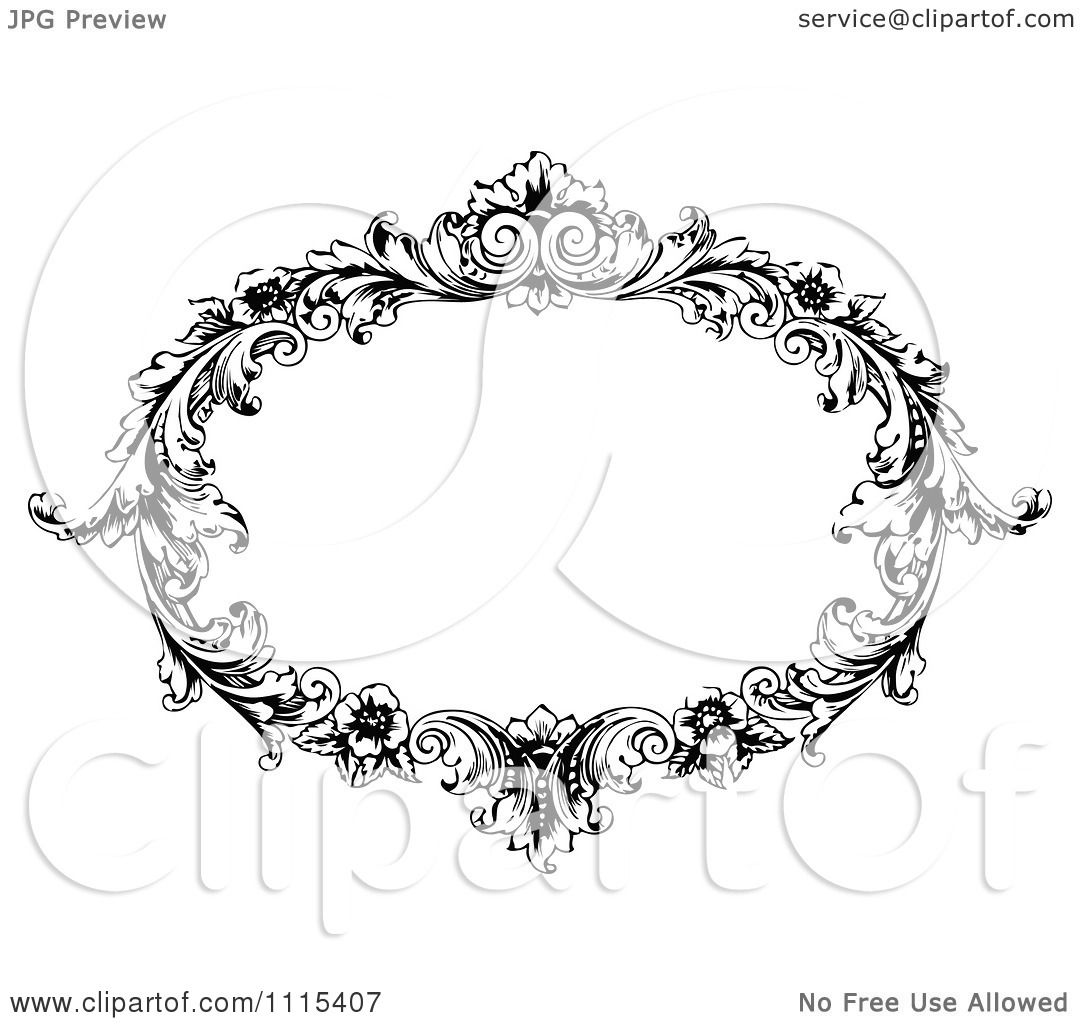 clipart vintage black and white ornate oval frame royalty free vector illustration by prawny vintage