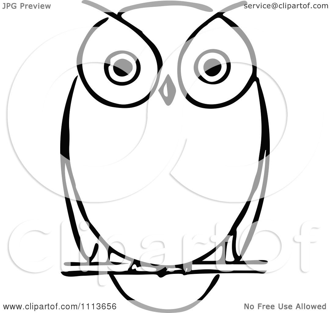 Clipart Vintage Black And White Owl - Royalty Free Vector ...