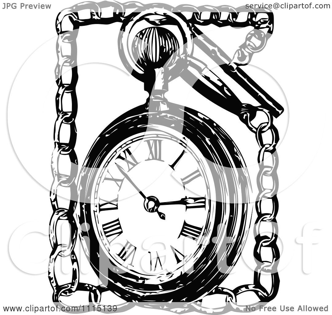clipart vintage black and white pocket watch and chain