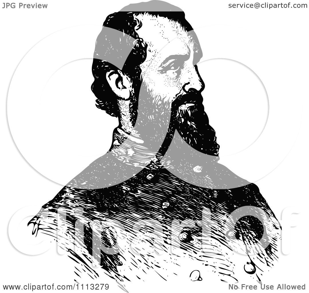 Clipart Vintage Black And White Portrait Of General