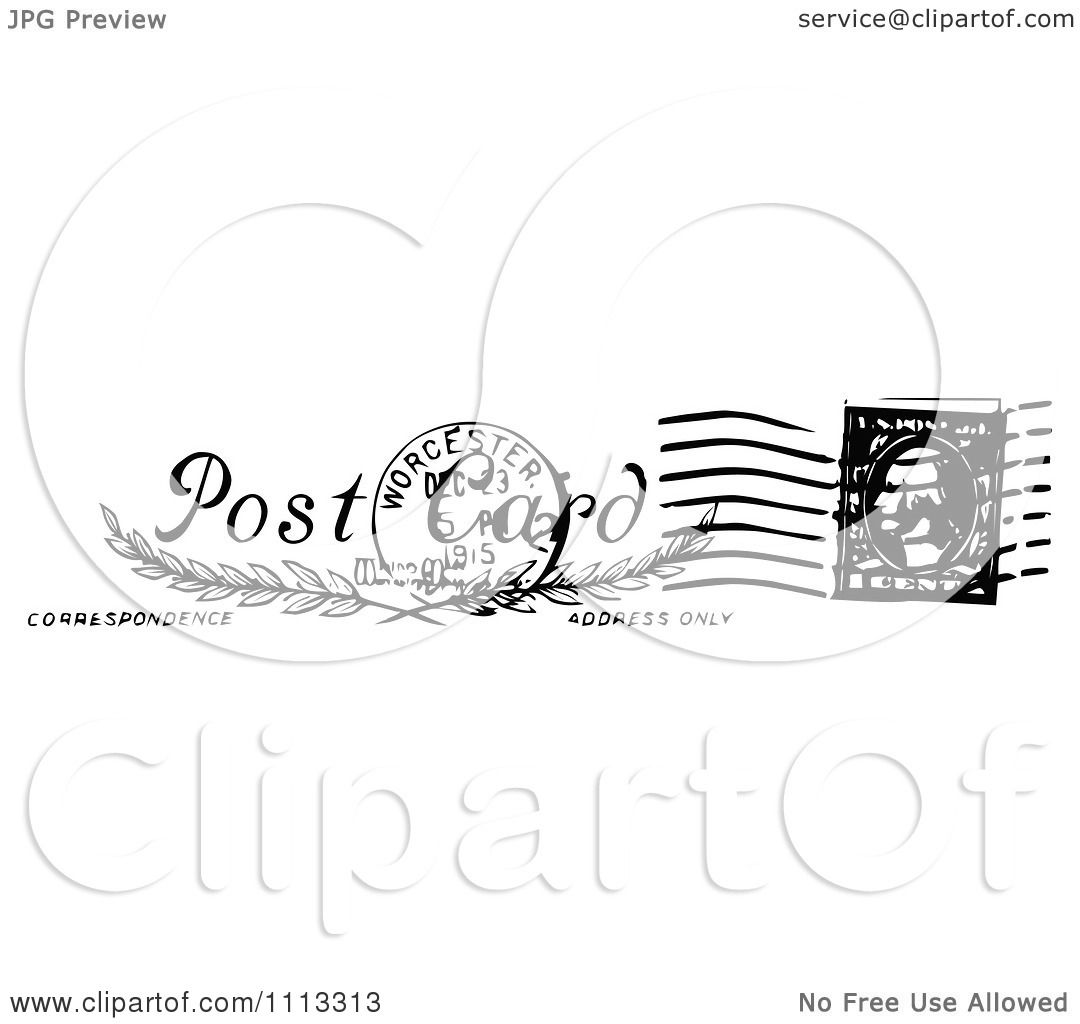 Postage Stamp Clip Art Black And White Clipart Vintage...