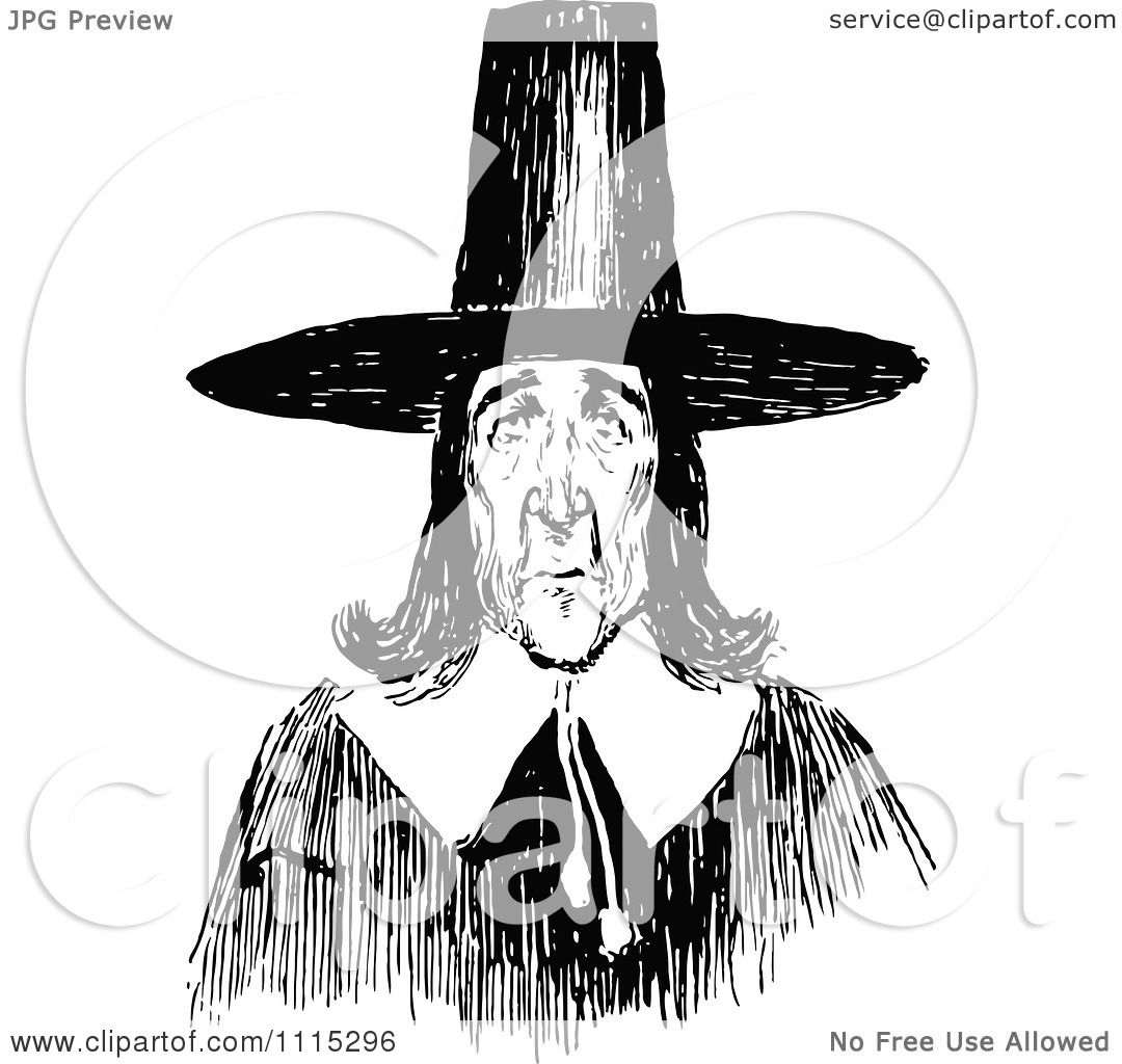 Clipart vintage black and white puritan man royalty free - Clipart illustration ...