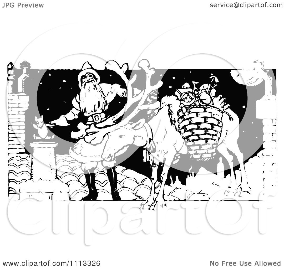 Clipart Vintage Black And White Santa And Reindeer On A